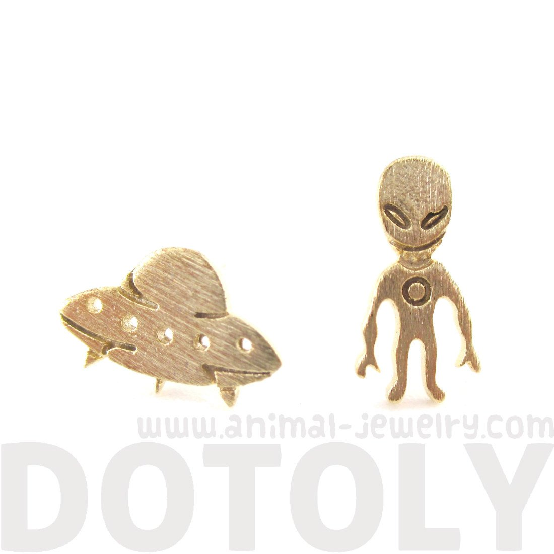 Alien and UFO Space Ship Shaped Stud Earrings in Gold