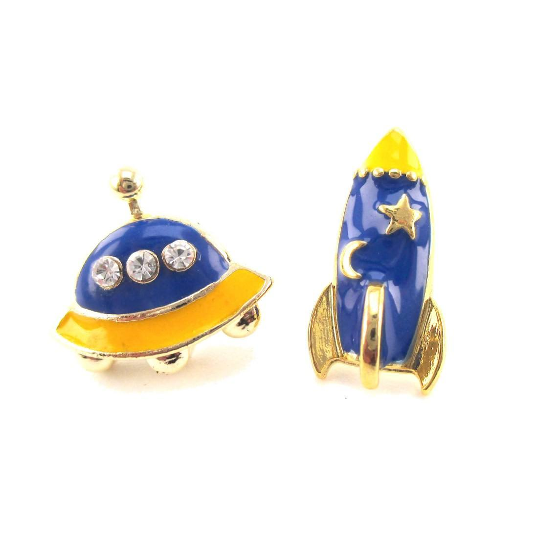 Alien and UFO Spaceship Shaped Space Themed Stud Earrings in Blue