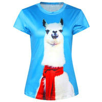 Alpaca Llama Wearing A Scarf Digital Graphic Print Tee