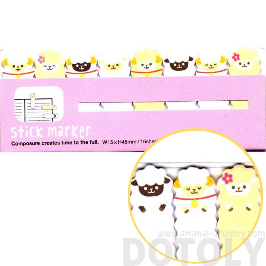Alpaca Sheep Animal Themed Memo Pad Post-it Index Tabs