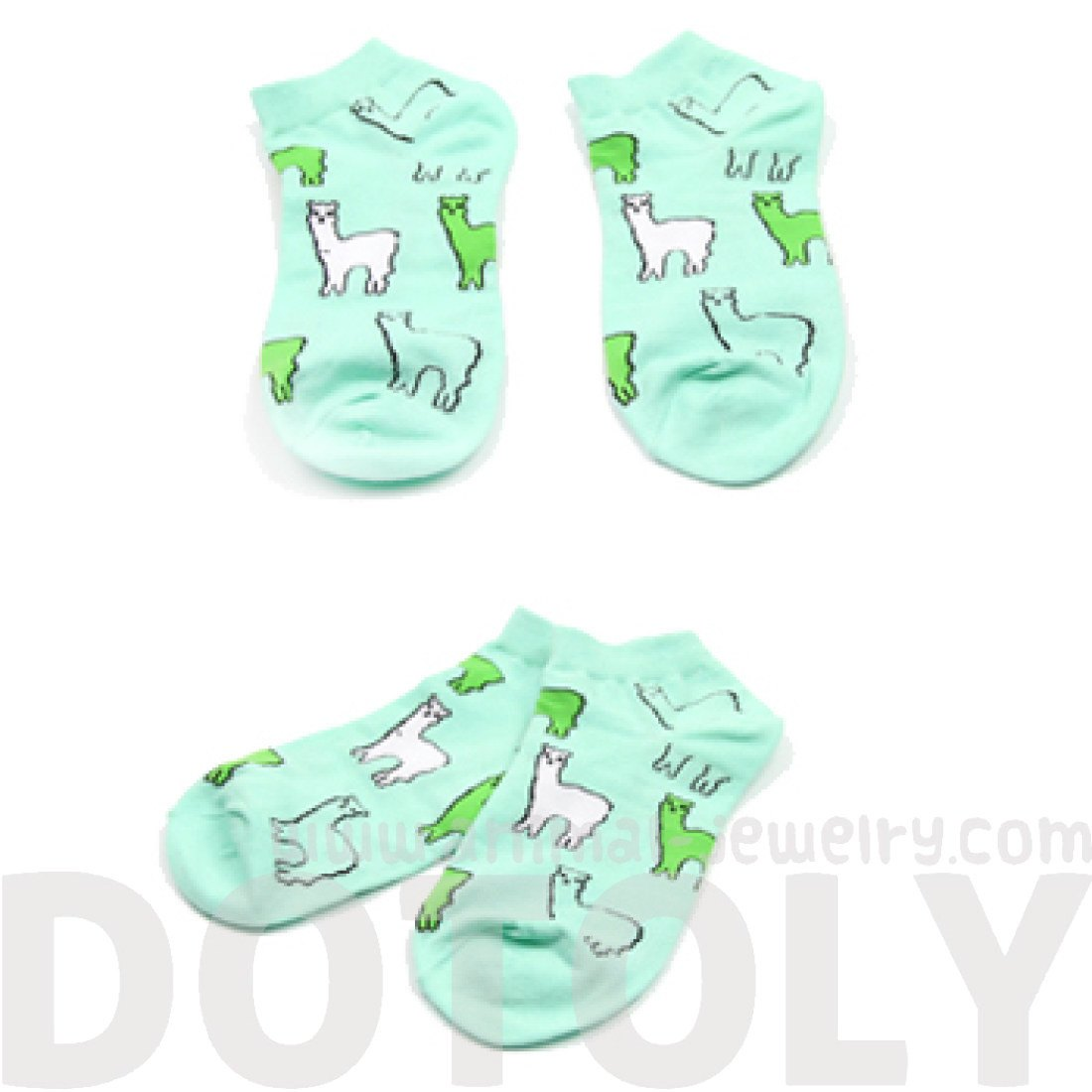 Alpacas Llama Animal Graphic Print Cotton Short Ankle Socks in Mint
