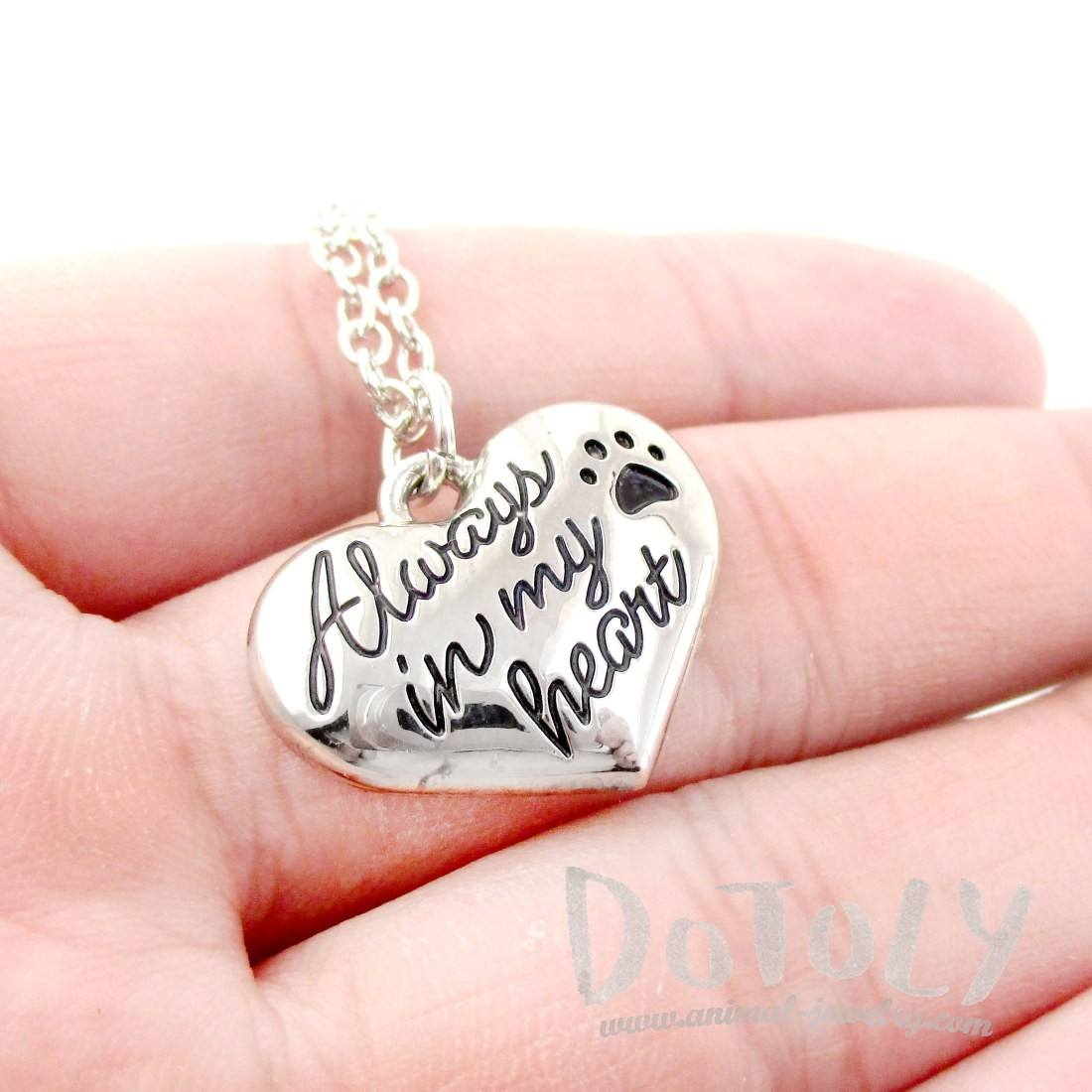 """Always in my Heart"" Heart Shaped Pendant Necklace for Dog Lovers"