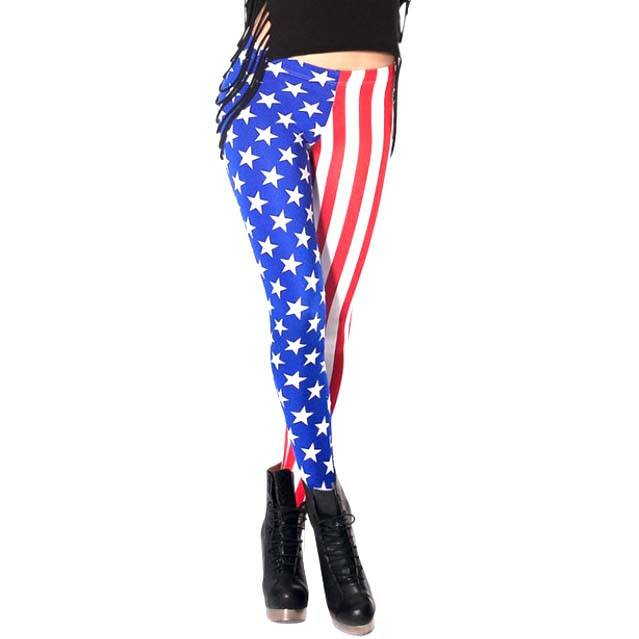 American Flag Blue Red White Stars and Stripes Digital Print Legging Pants for Women | DOTOLY