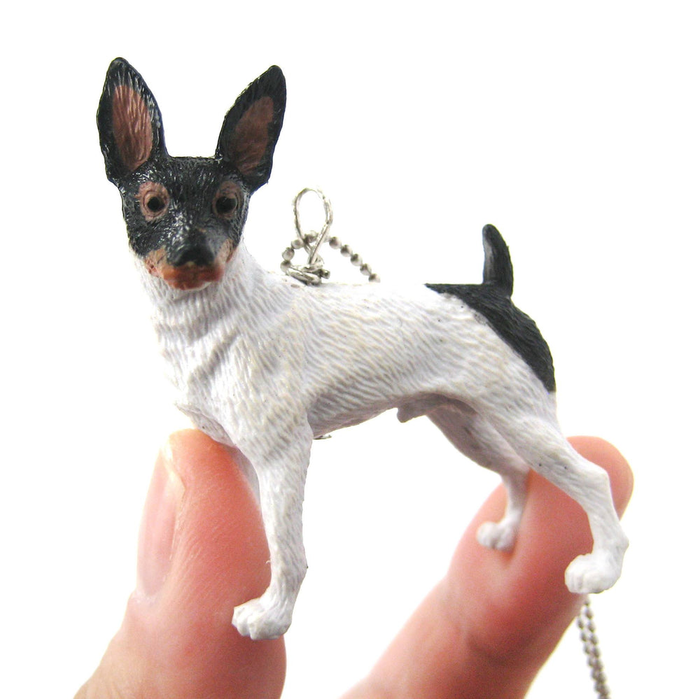 American Toy Fox Terrier Puppy Dog Animal Plastic Pendant Necklace | Animal Jewelry | DOTOLY