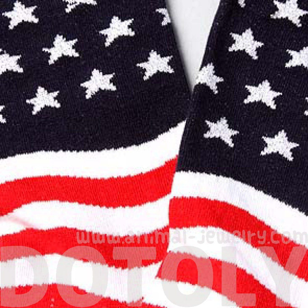 American USA Flag Star and Stripes Print Long Cotton Socks for Women