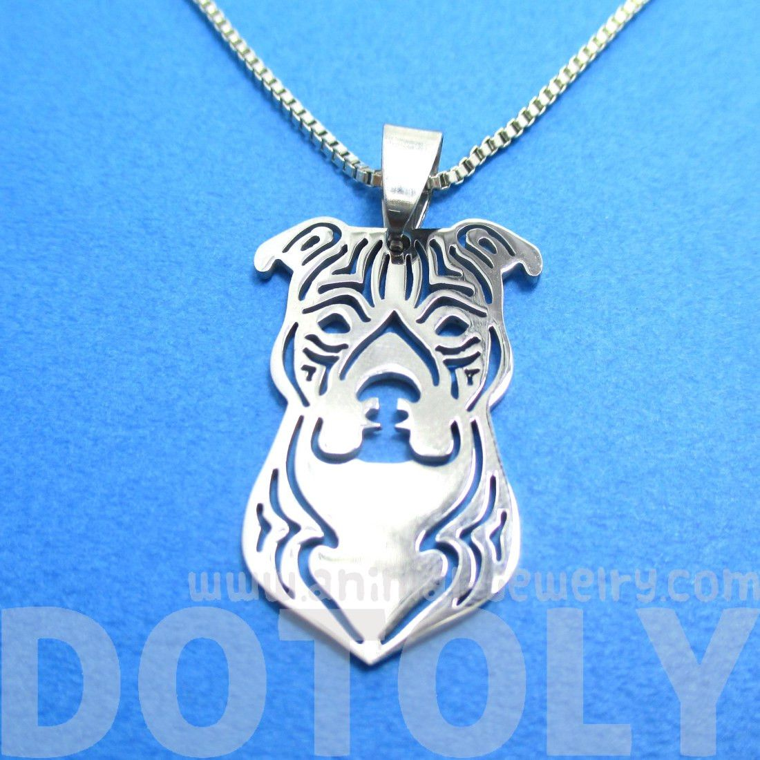Amstaff Pit Bull Dog Face Shaped Pendant Necklace