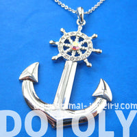 Anchor and Wheel Shaped Nautical Themed Pendant Necklace in Silver | DOTOLY | DOTOLY