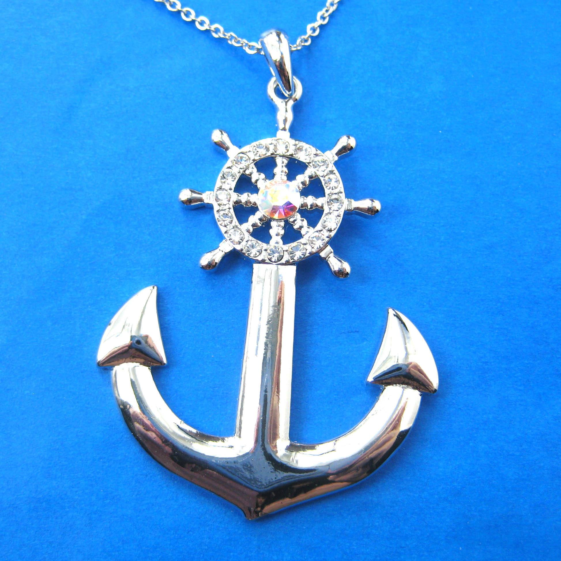 anchor-and-wheel-shaped-nautical-themed-pendant-necklace-in-silver-dotoly