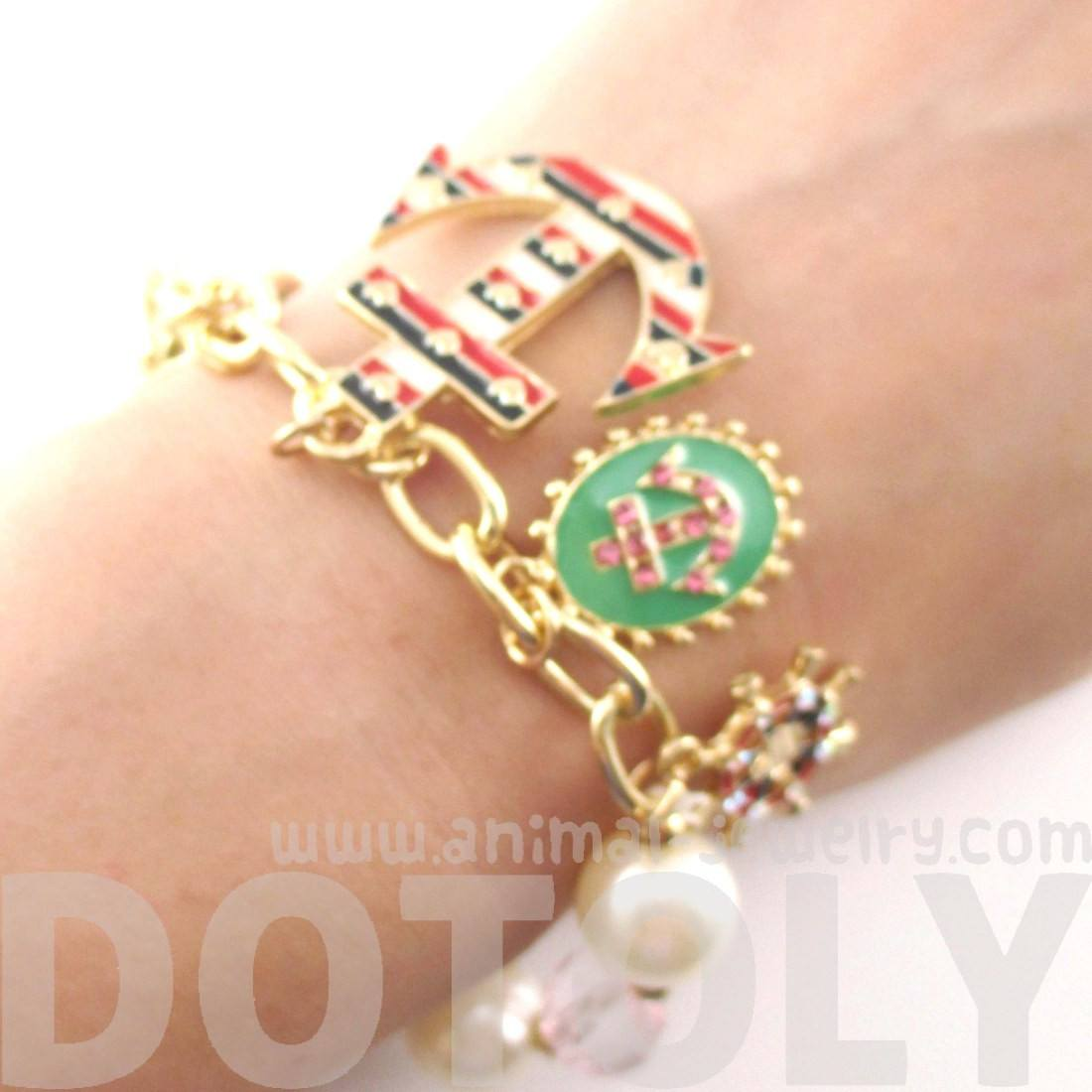 Anchor Boat Helm Nautical Themed Charm Bracelet in Gold
