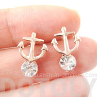 Anchor Shaped Nautical Themed Stud Earrings Rose Gold with Rhinestones