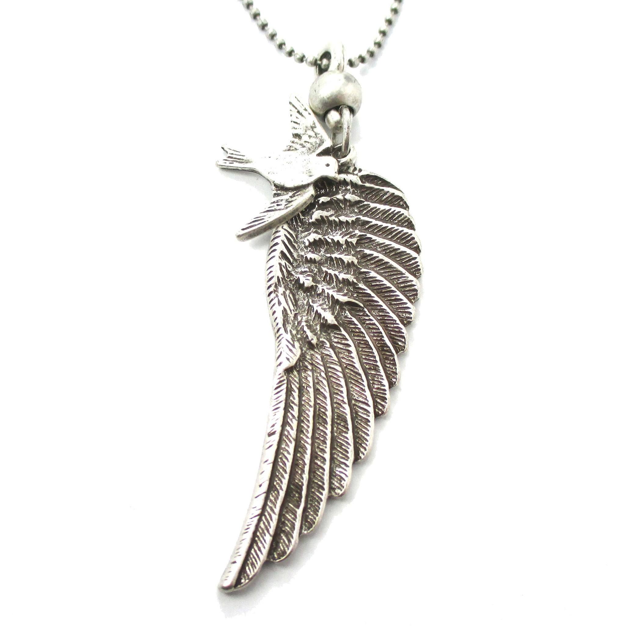 Angel Wing Feather and Dove Shaped Pendant Necklace in Silver | DOTOLY