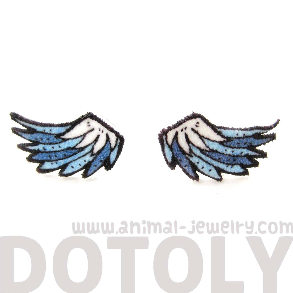Angel Wings Feather Shaped Stud Earrings | Handmade Shrink Plastic