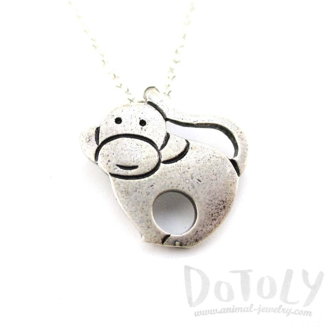 Animal Themed Simple Monkey Pendant Necklace in Silver