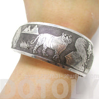 Animal Themed Tiger Wide Bangle Cuff Bracelet in Silver