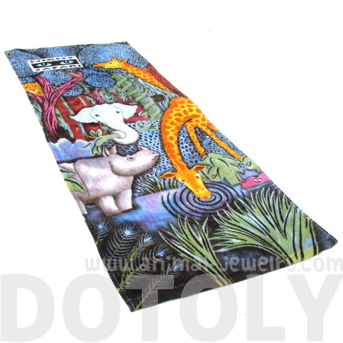Animal Zoo Night Safari Elephant Giraffe Rhino Collage Print TowelAnimal Zoo Night Safari Elephant Giraffe Rhino Collage Print Towel