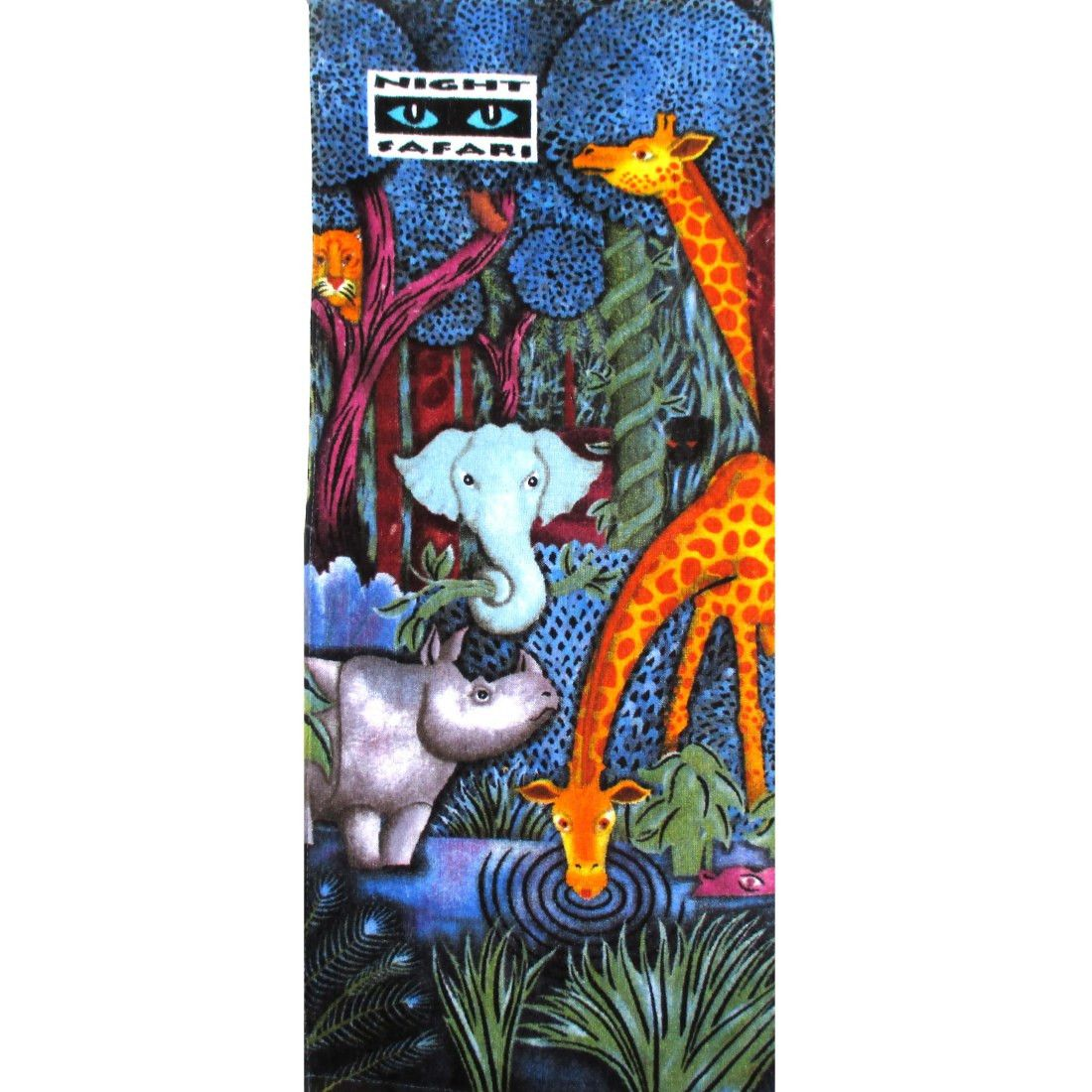 Animal Zoo Night Safari Elephant Giraffe Rhino Collage Print Towel