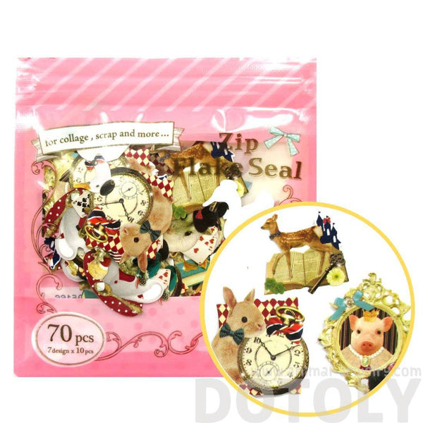 Animals in Wonderland Bunny Owl Pig Duck Shaped Sticker Set From Japan