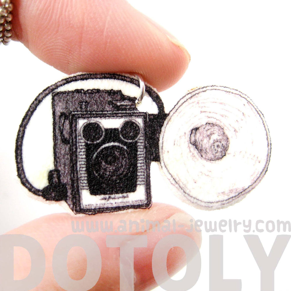 Antique Kodak Brownie Camera With Flash Shaped Pendant Necklace