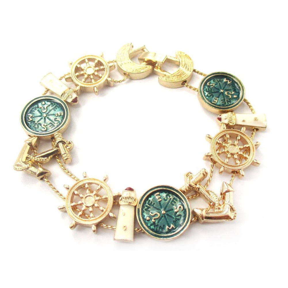 Light House Compass Anchor Helm Charm Bracelet | DOTOLY