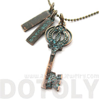 Antique Skeleton Key & Forever Charm Necklace in Brass