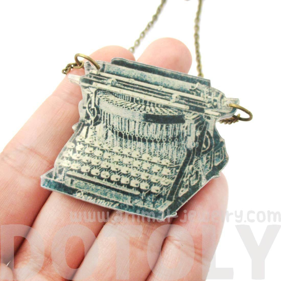 Antique Typewriter Shaped Acrylic Illustrated Pendant Necklace