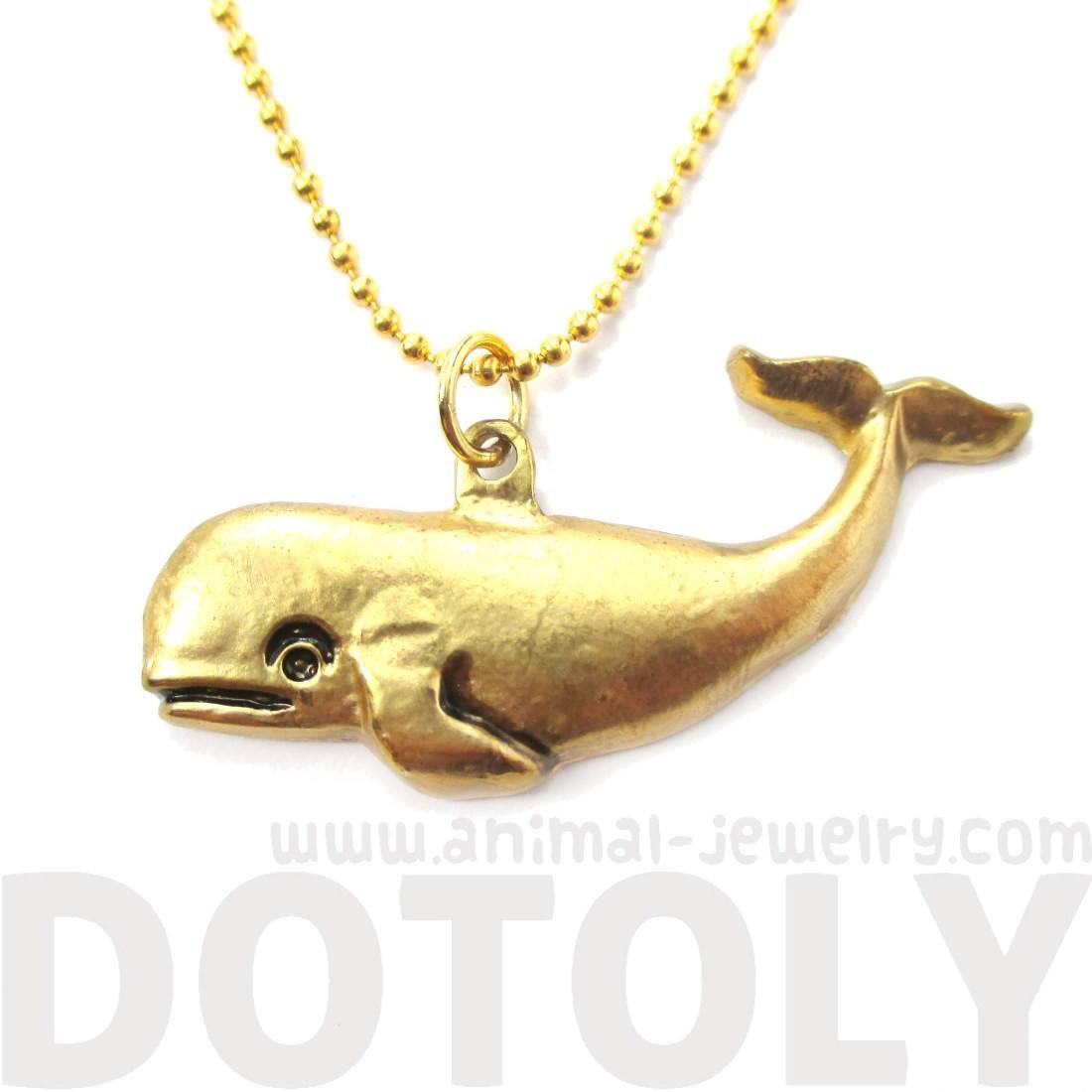 Antique Whale Shaped Sea Creature Pendant Necklace | Animal Jewelry