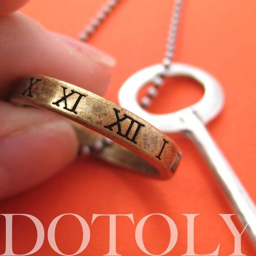 skeleton-key-pendant-with-roman-numeral-hoop-charm-necklace-in-silver