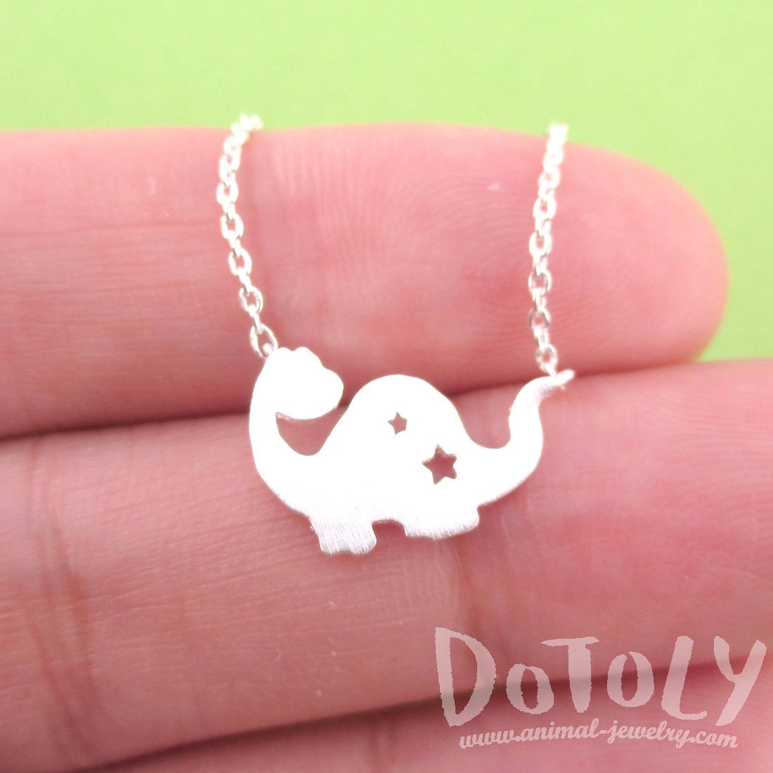 Apatosaurus Dinosaur with Star Cut Out Shaped Charm Necklace in Silver