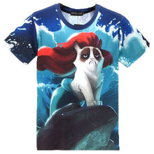 Ariel the Grumpy Cat Mermaid Print Graphic Tee T-Shirt