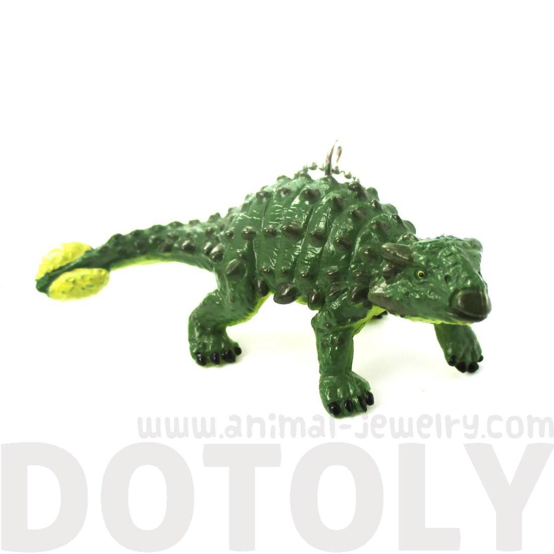 Armored Dinosaur Euoplocephalus Shaped Pendant Necklace in Green