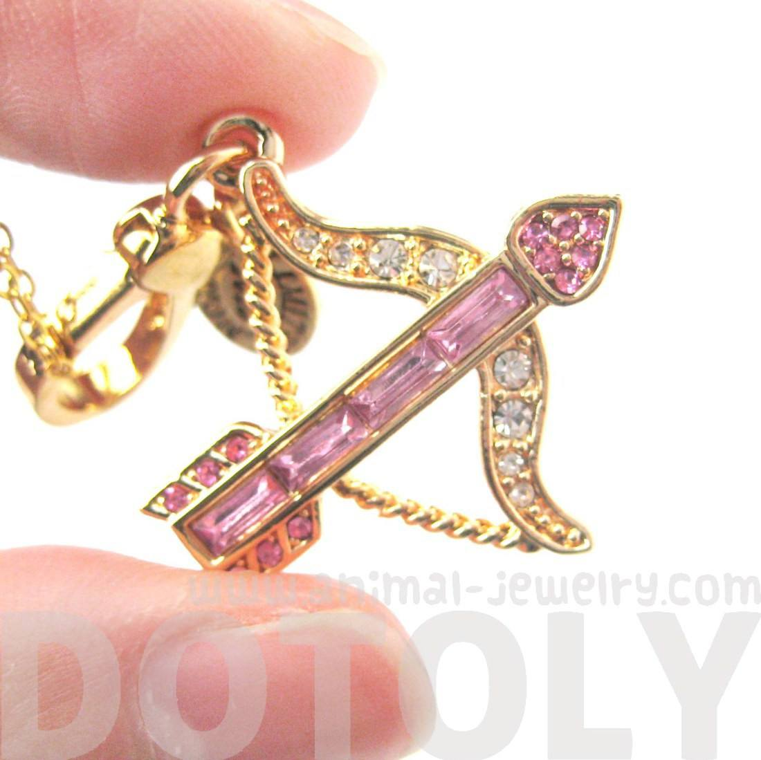 Arrow Bow Cupid Love Themed Pendant Necklace in Pink with Rhinestones