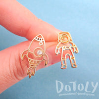 Astronaut and Rocket Outline Shaped Space Themed Stud Earrings in Gold