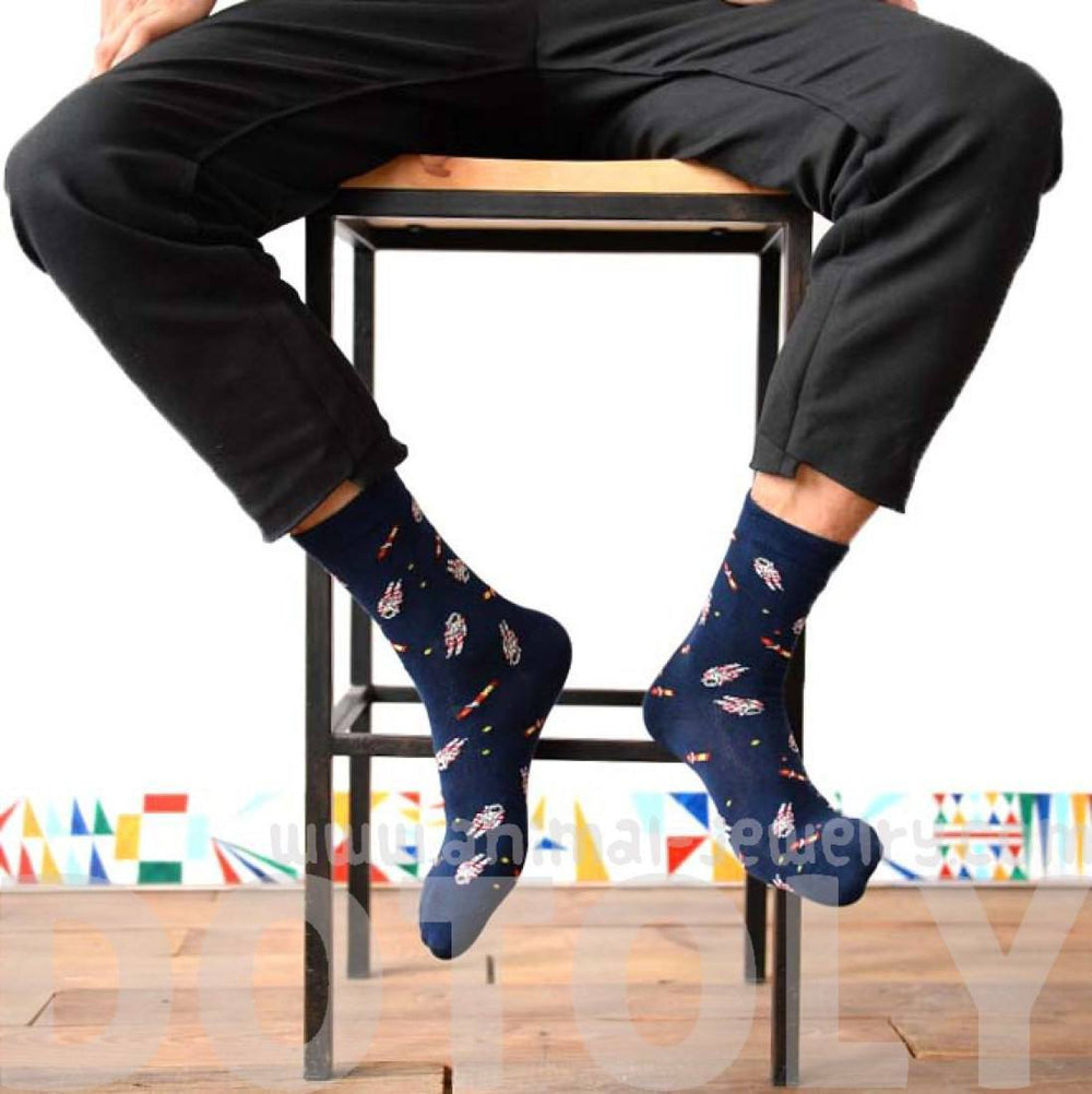 Astronaut and Rocket Print Space Themed Cotton Socks in Navy Blue