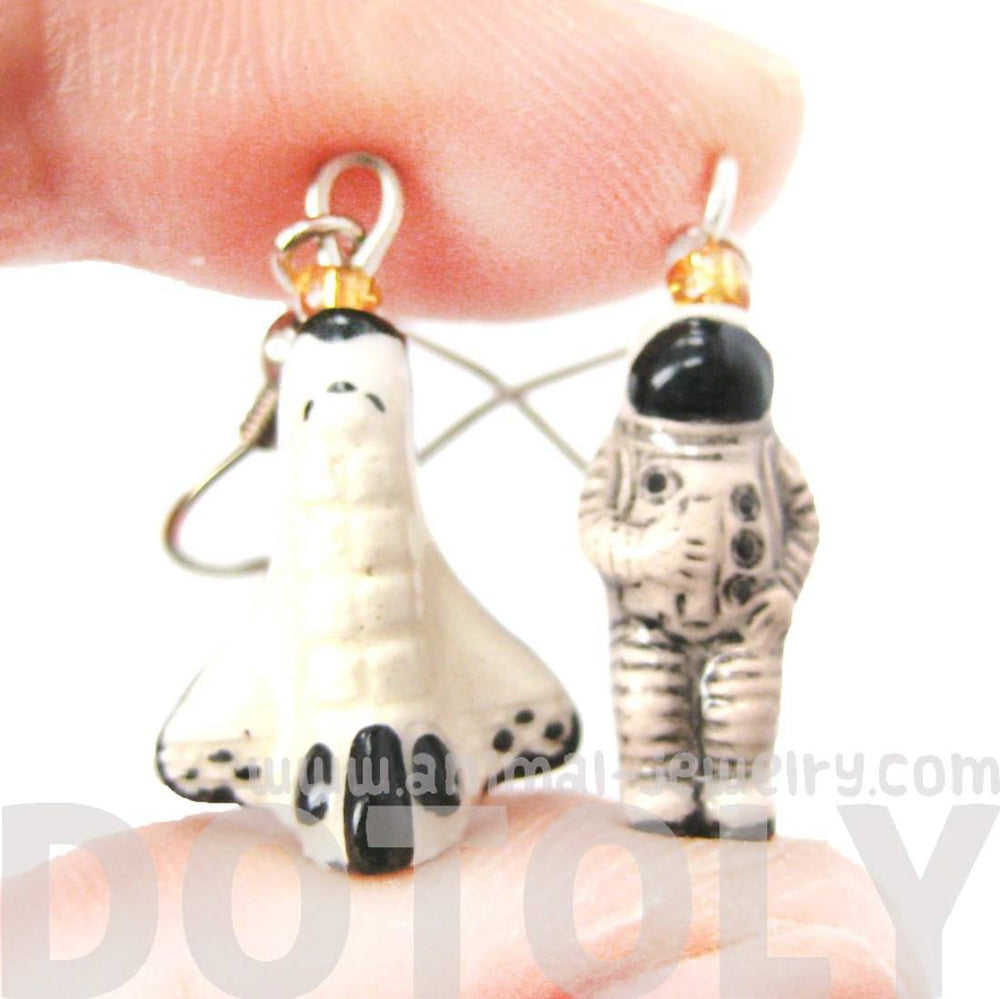 Astronaut and Rocket Porcelain Ceramic Space Themed Dangle Earrings