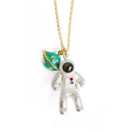 Astronaut Saturn Space Travel Themed Pendant Necklace