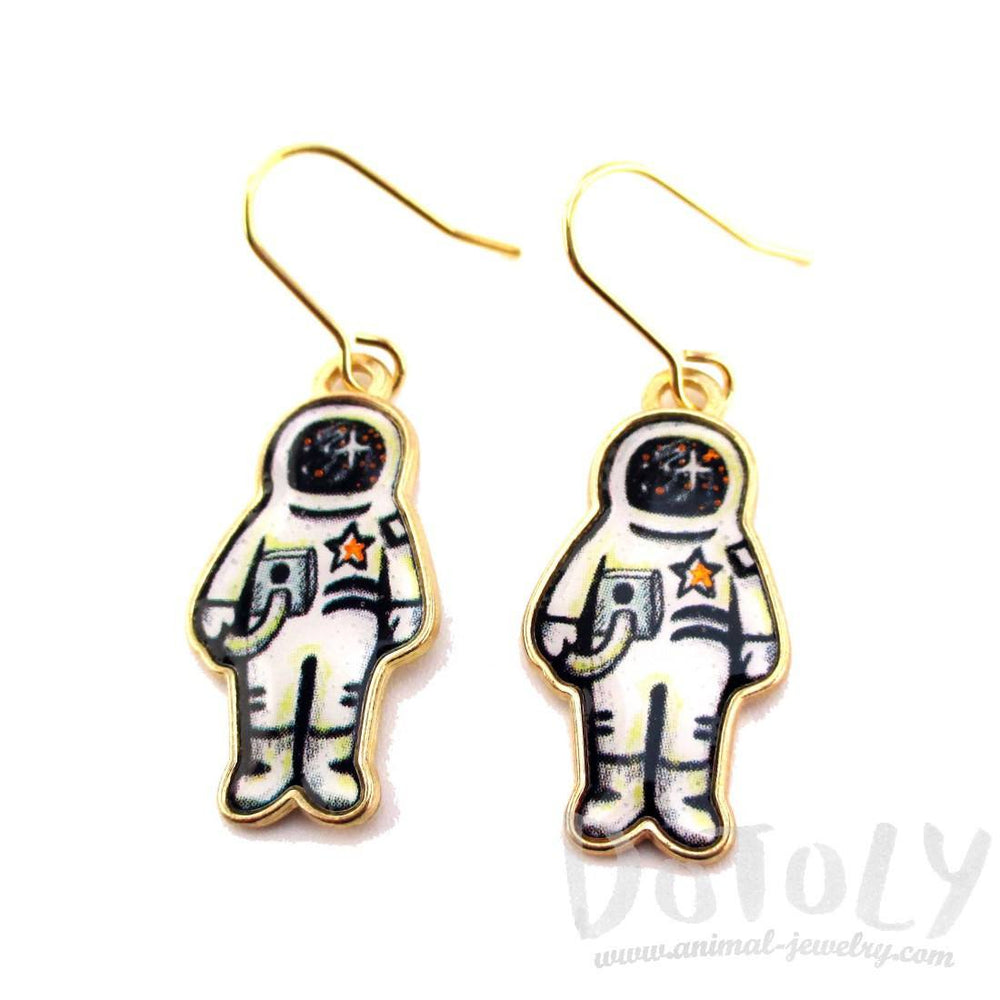 Astronaut Illustration Shaped Dangle Earrings | Space Themed Jewelry