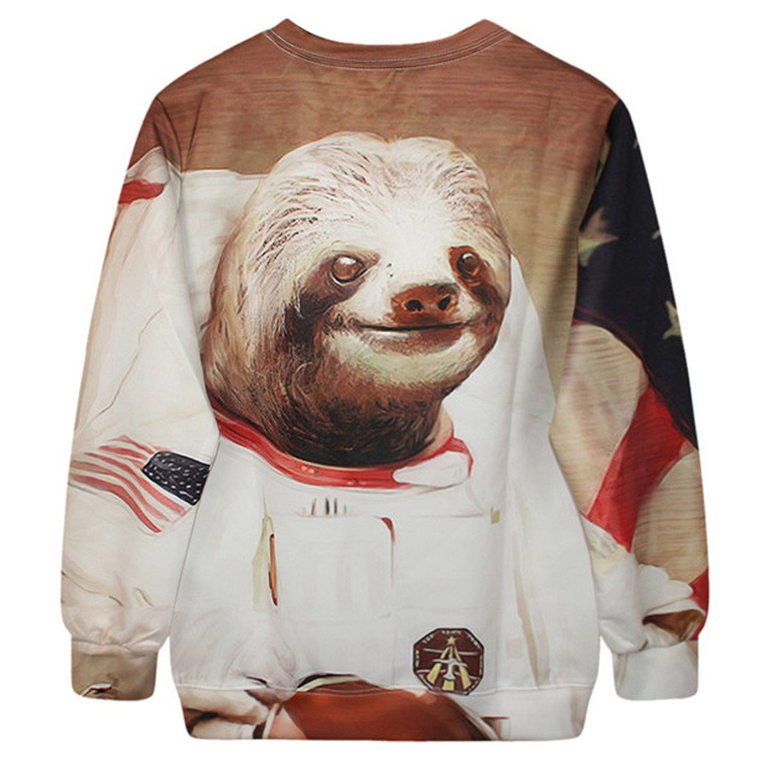 Astronaut Space Sloth Animal Meme Graphic Print Sweater