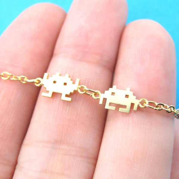 Atari Space Invaders Arcade Themed Alien Pixel Charm Bracelet in Gold