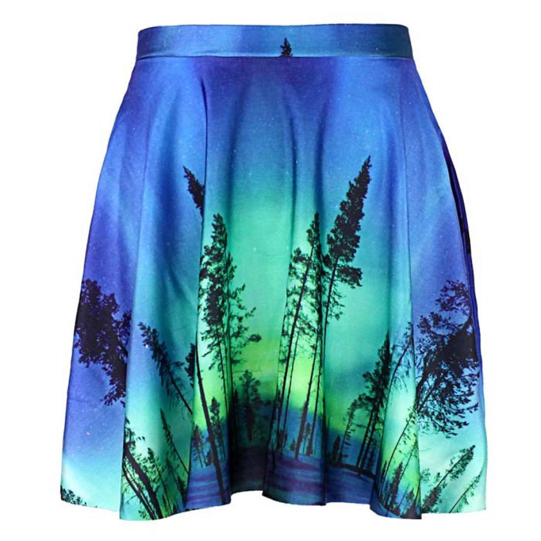 Aurora Borealis Tree Silhouette Print Circle Skirt with Elastic Waist