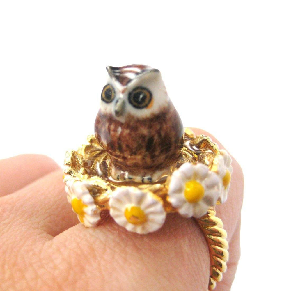Barn Owl Shaped Handmade Limited Edition Ceramic Porcelain Animal Ring