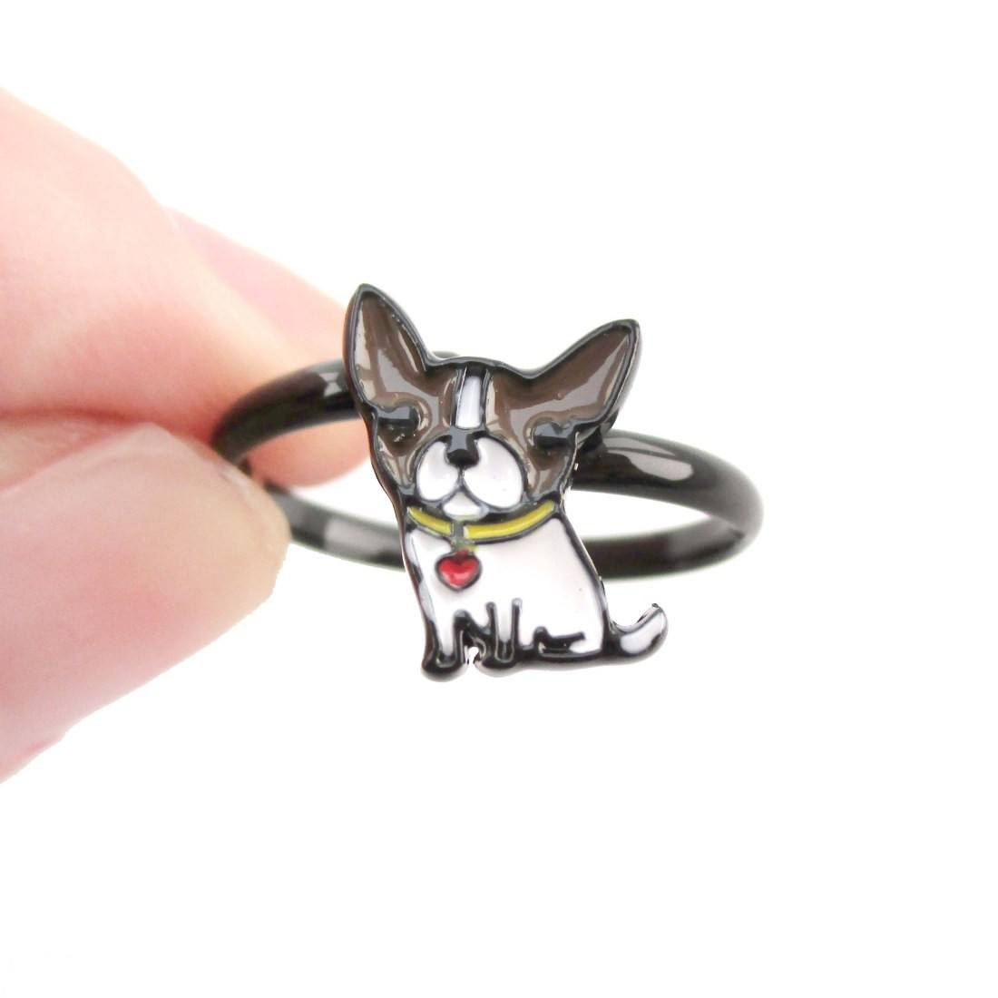 Baby Boston Terrier Puppy Shaped Adjustable Ring in Brown | DOTOLY