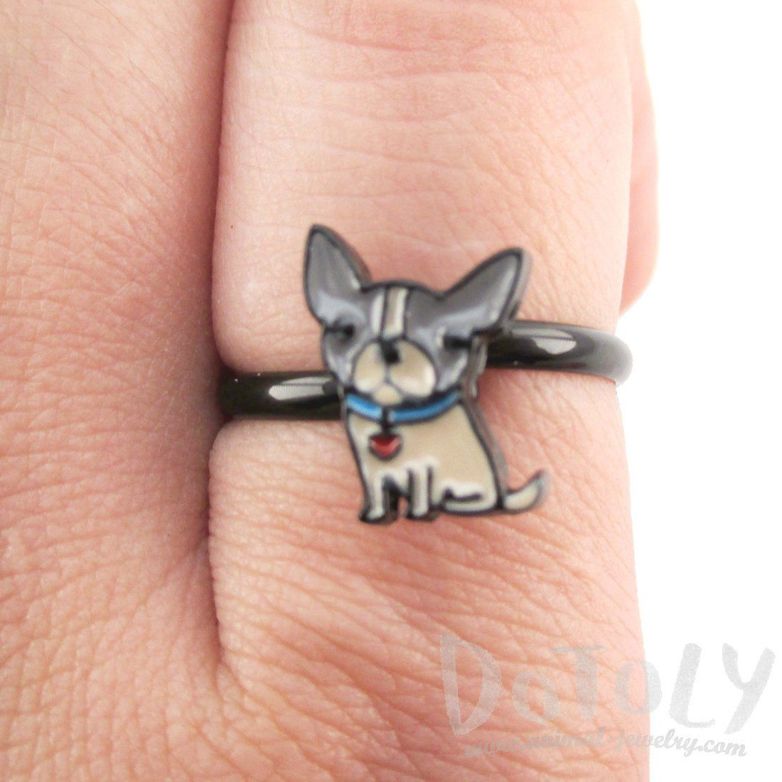 Baby Boston Terrier Puppy Shaped Adjustable Ring in Tan | DOTOLY