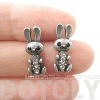 Baby Bunny Rabbit Shaped Stud Earrings in Silver with Rhinestones | Animal Jewelry | DOTOLY