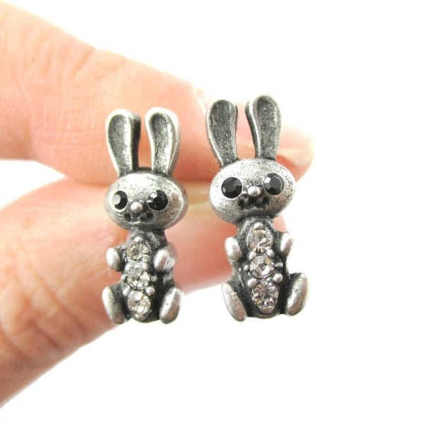 Baby Bunny Rabbit Shaped Stud Earrings in Silver with Rhinestones