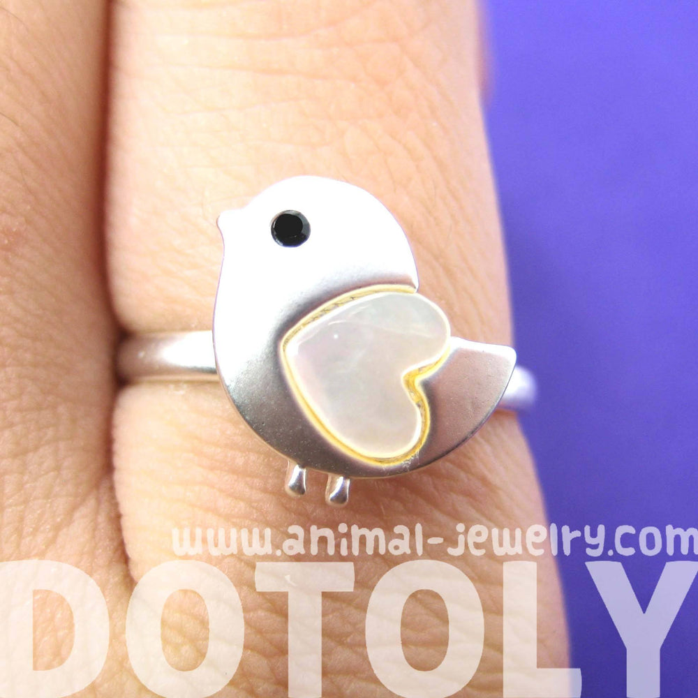 Baby Chicken Bird Animal Adjustable Ring in Silver with Heart Shaped Wings | DOTOLY