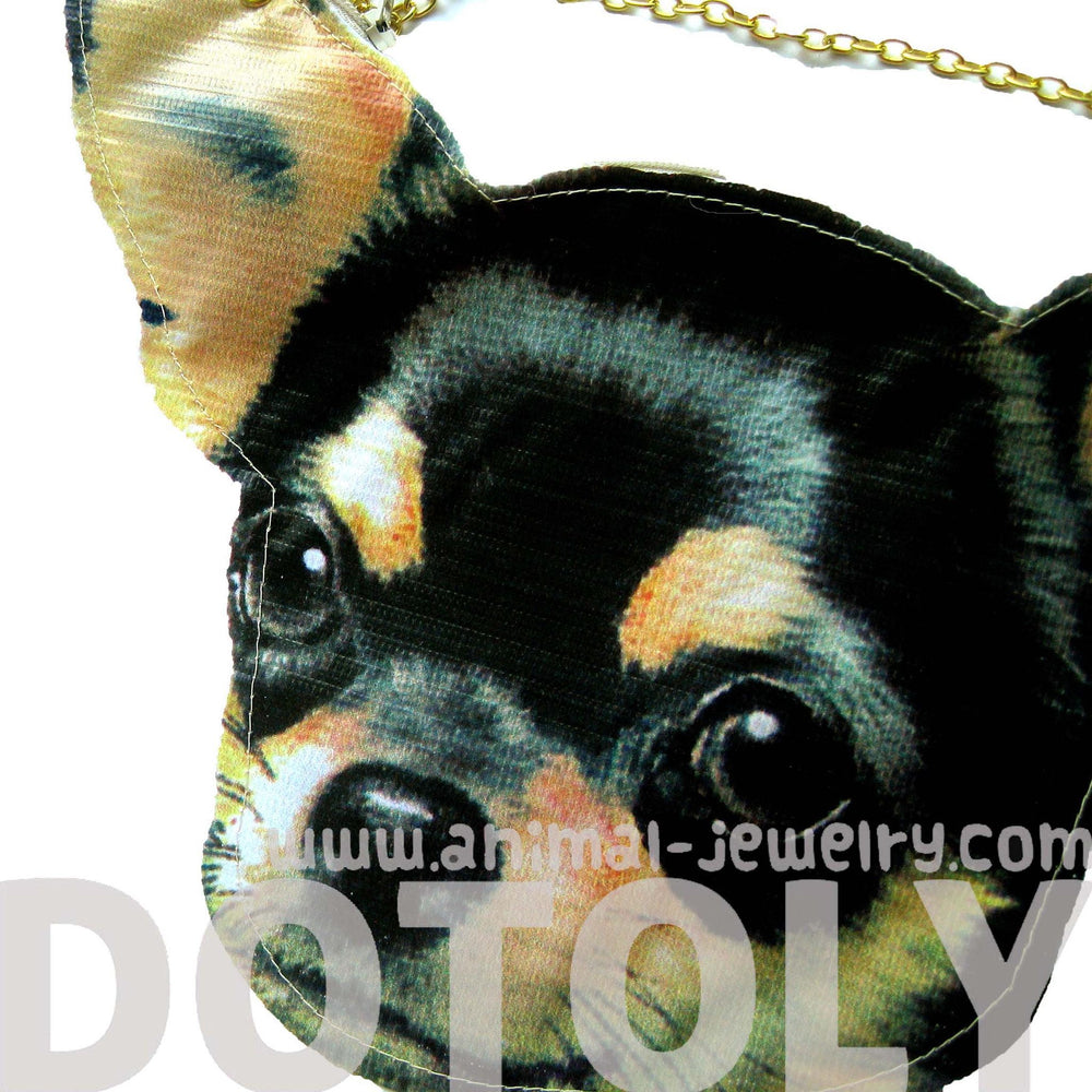 Baby Chihuahua Puppy Dog Head Shaped Vinyl Animal Themed Cross Shoulder Bag | DOTOLY