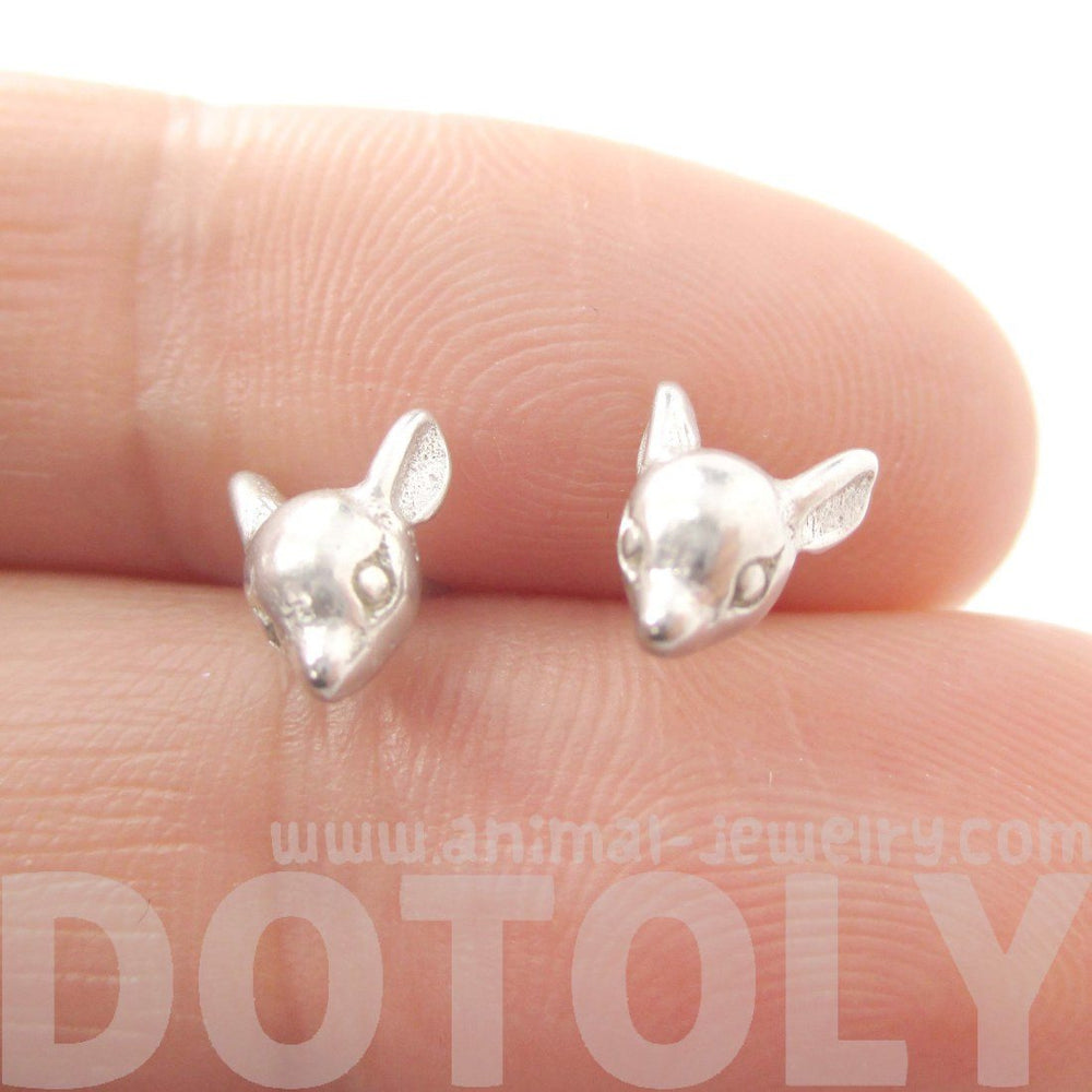 3D Deer Doe Shaped Animal Head Stud Earrings in Silver