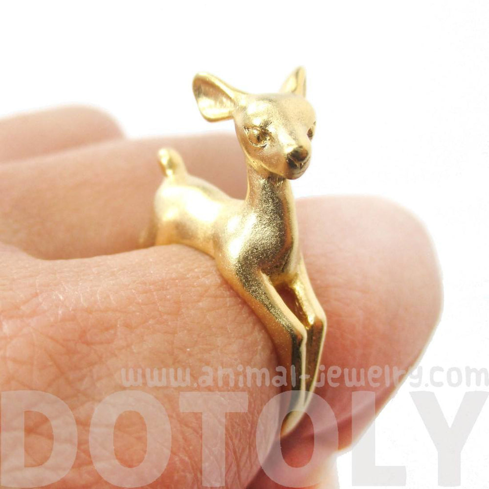 3D Baby Deer Doe Shaped Sleek Animal Wrap Ring in Gold