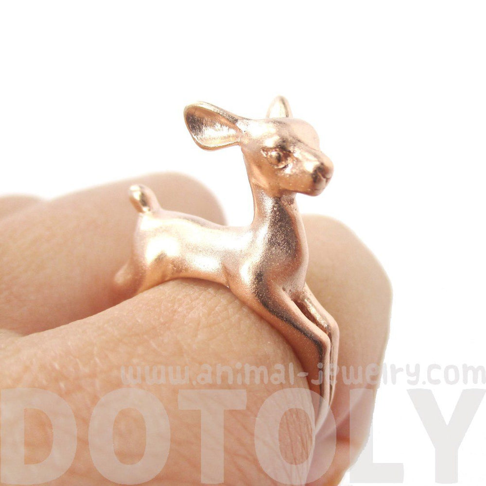 3D Deer Doe Shaped Sleek Animal Wrap Ring in Rose Gold