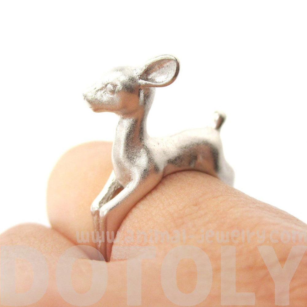 3D Baby Deer Doe Shaped Sleek Animal Wrap Ring in Silver